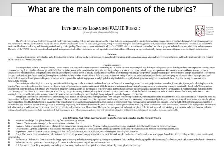 What are the main components of the rubrics?
