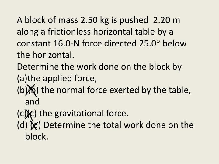A block of mass 2.50 kg is pushed
