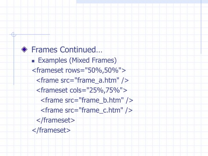 Frames Continued…