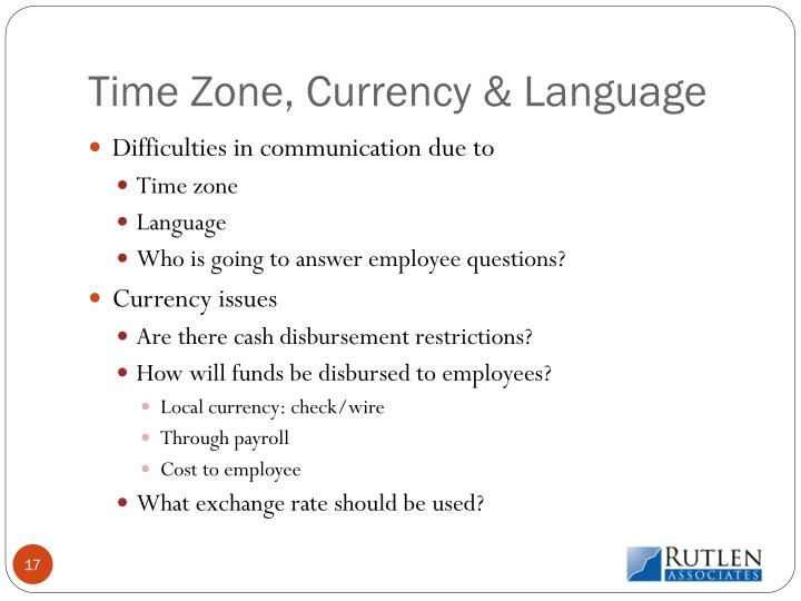 Time Zone, Currency & Language