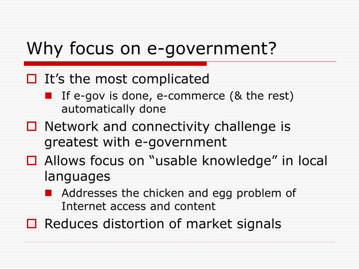 Why focus on e-government?