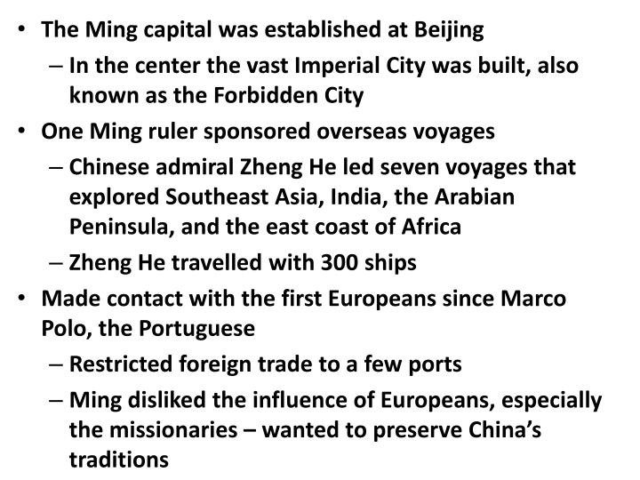 The Ming capital was established at Beijing