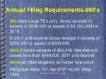 annual filing requirements 990 s