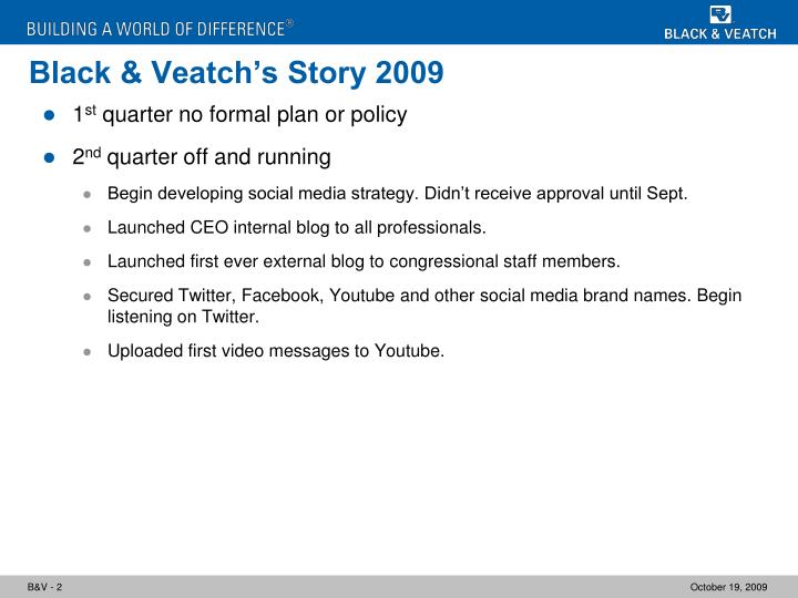 Black veatch s story 2009