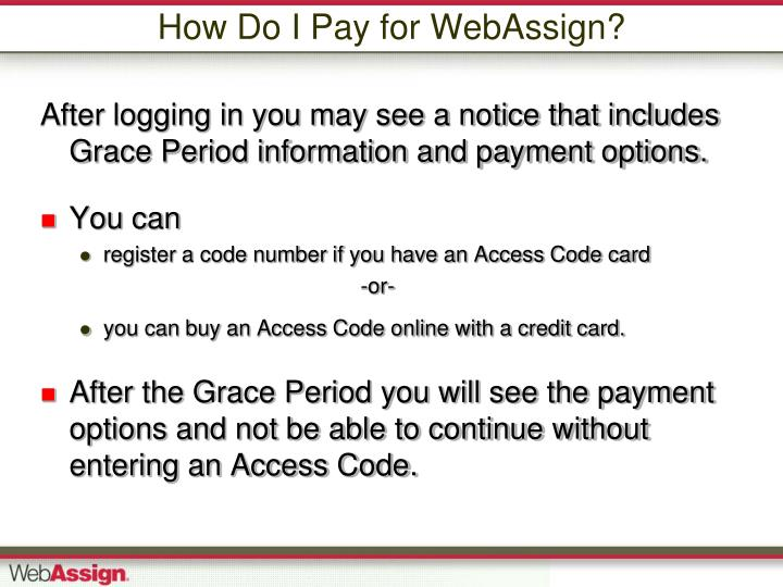 How Do I Pay for WebAssign?