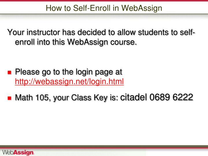 How to self enroll in webassign