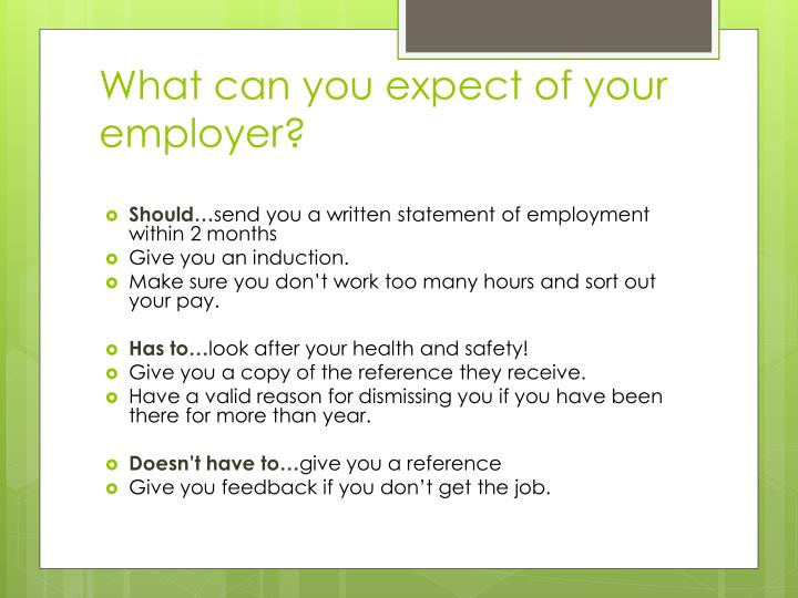 What can you expect of your employer?