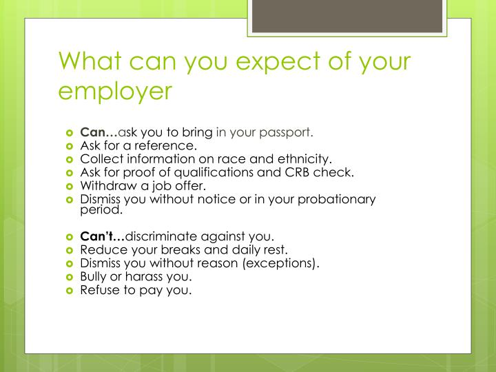 What can you expect of your employer