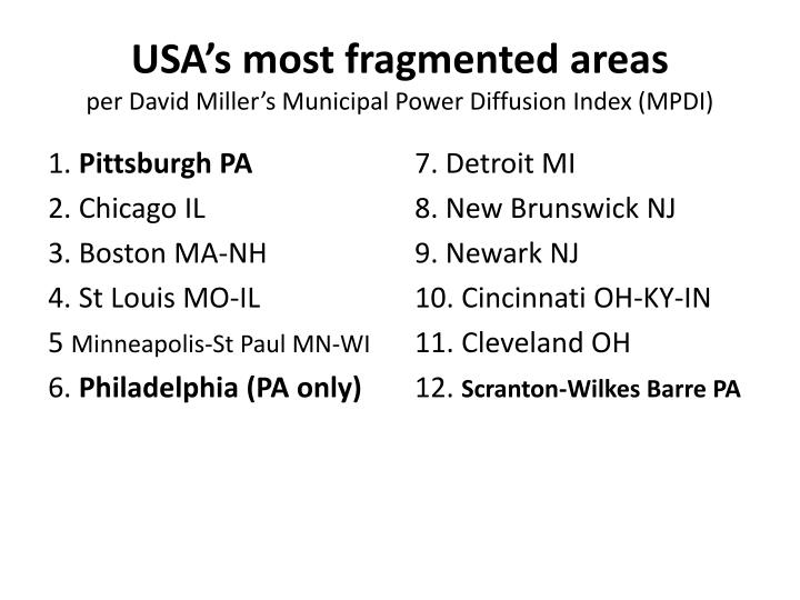 USA's most fragmented areas