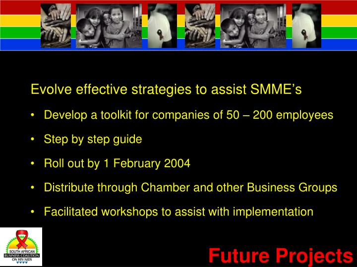 Evolve effective strategies to assist SMME