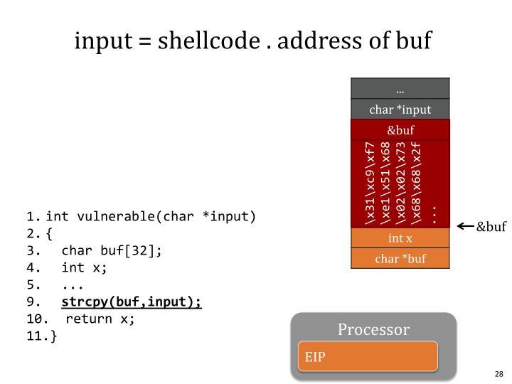 input = shellcode . address of