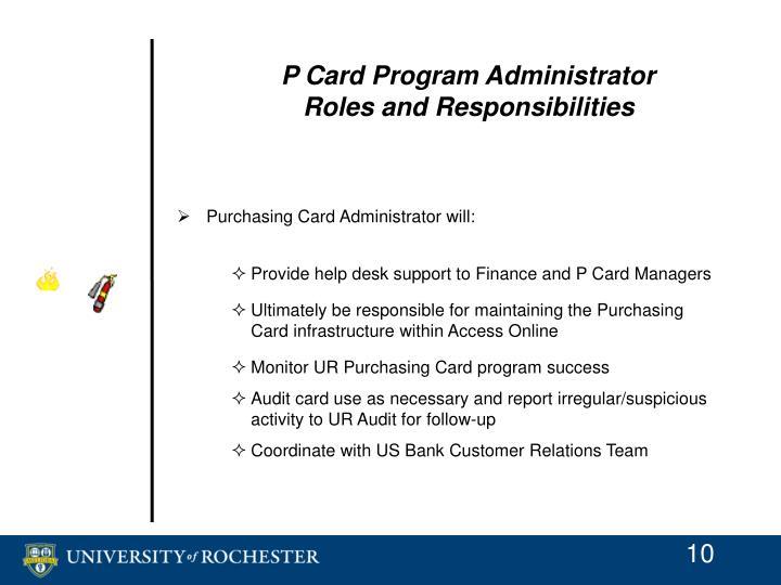 P Card Program Administrator