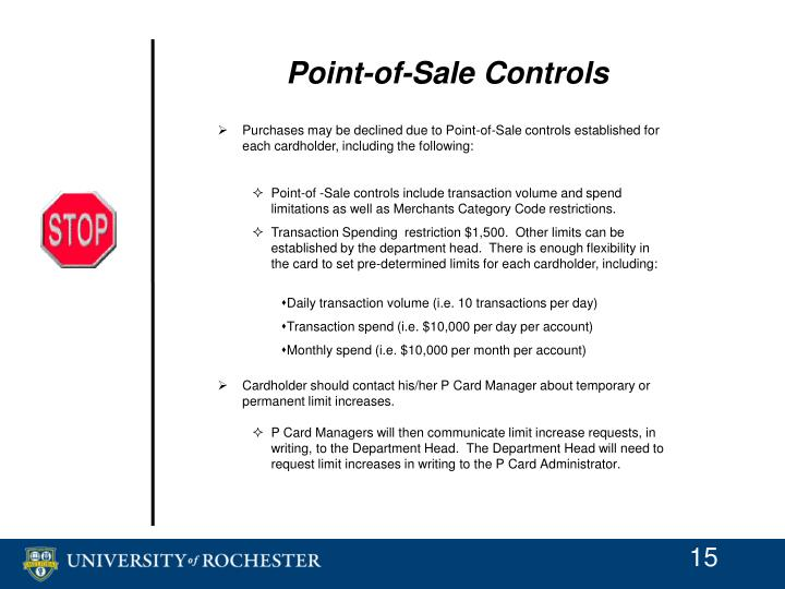 Point-of-Sale Controls