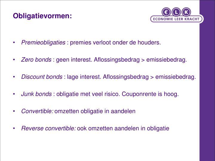Obligatievormen: