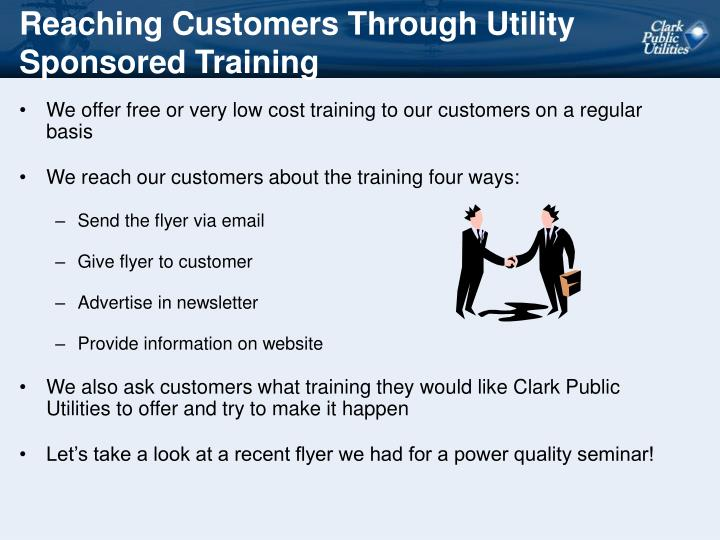 Reaching Customers Through Utility Sponsored Training