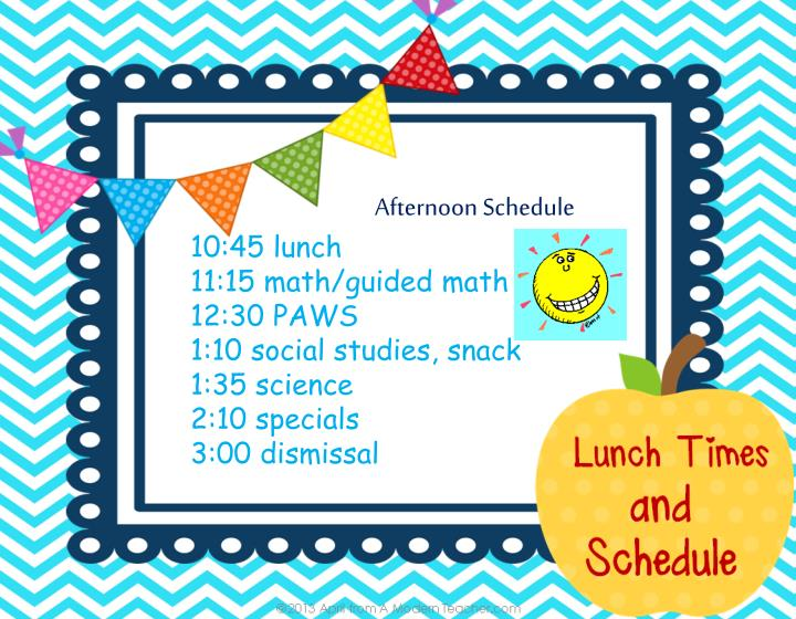 Afternoon Schedule