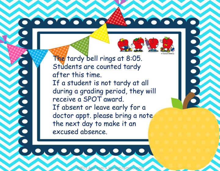 The tardy bell rings at 8:05.  Students are counted tardy after this time.