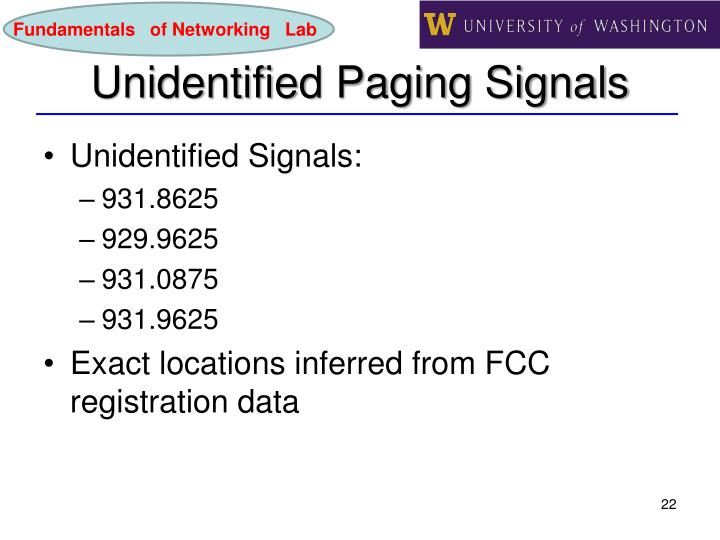 Unidentified Paging Signals