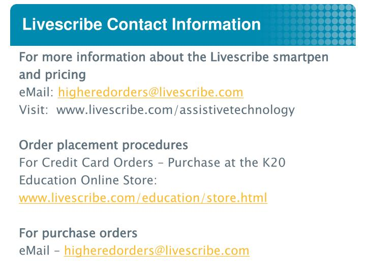 Livescribe Contact Information