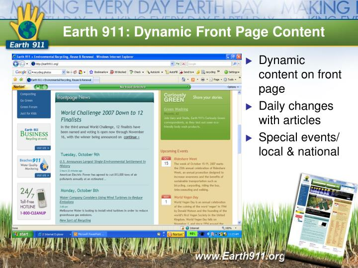 Earth 911: Dynamic Front Page Content