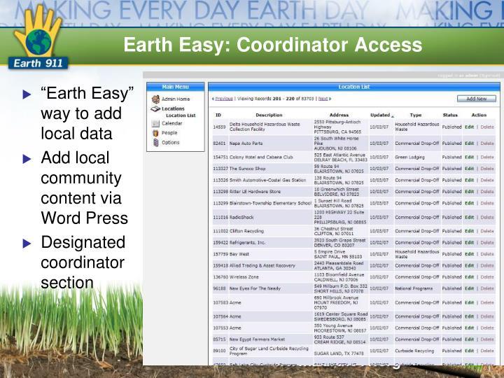 Earth Easy: Coordinator Access