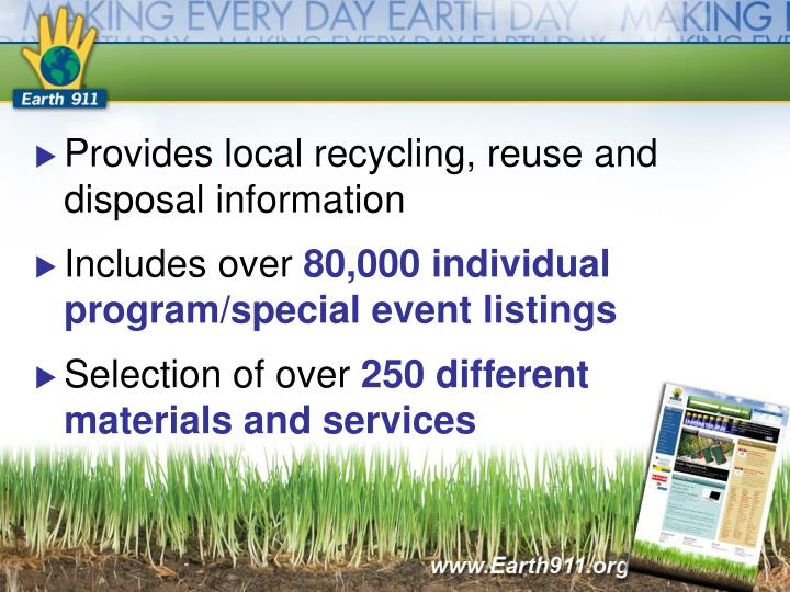 Provides local recycling, reuse and disposal information