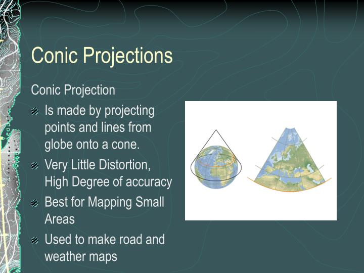 conic-projections-n Different Types Of Maps Powerpoint on different maps of the world, different time zones powerpoint, physical political maps and powerpoint, different types of maps geography, types of map projections powerpoint, different types of world maps, lines of latitude and longitude powerpoint, different types of maps worksheets,