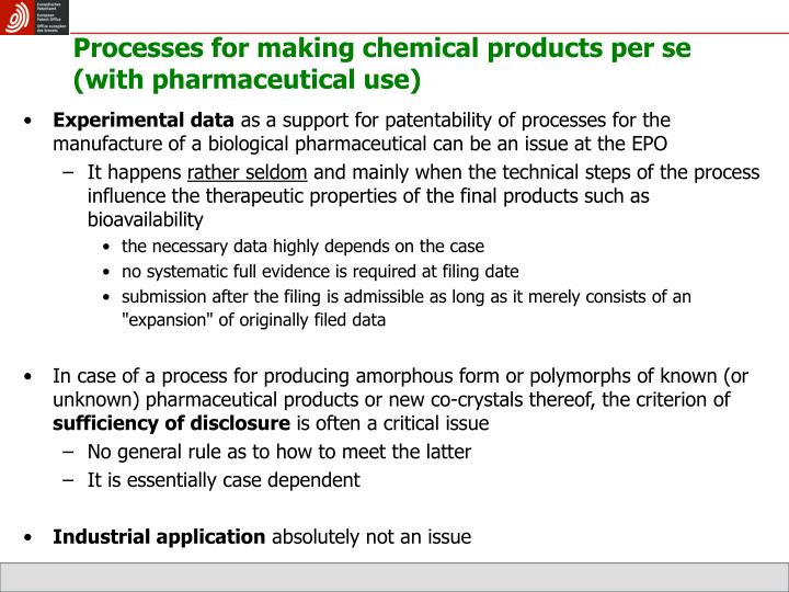 Processes for making chemical products per se (with pharmaceutical use)