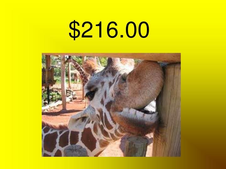 $216.00
