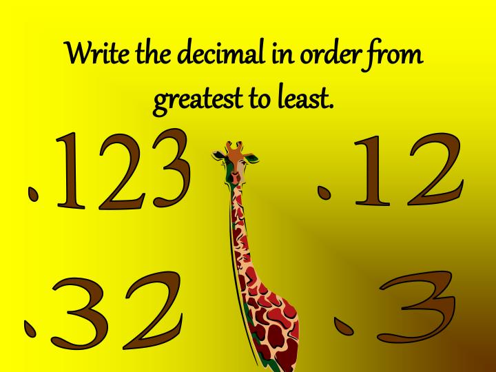 Write the decimal in order from greatest to least.