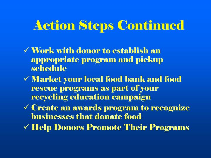Action Steps Continued