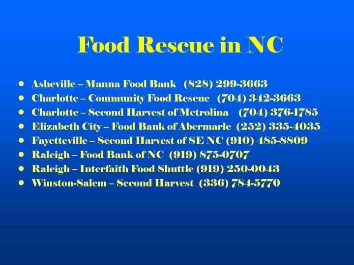 Food Rescue in NC