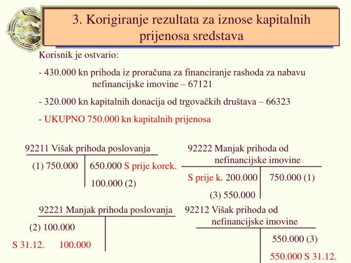 3. Korigiranje rezultata za iznose kapitalnih prijenosa sredstava