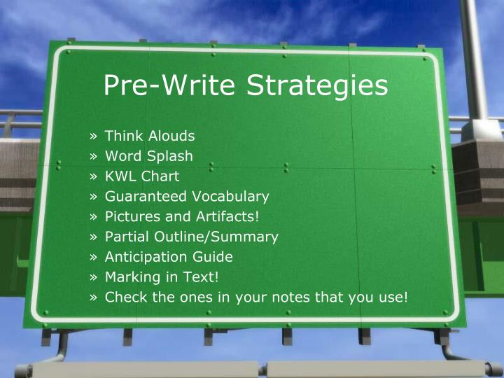 Pre-Write Strategies