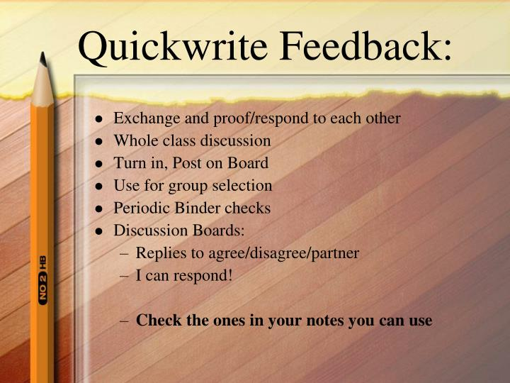 Quickwrite Feedback: