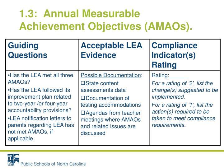 1.3:  Annual Measurable Achievement Objectives (AMAOs).