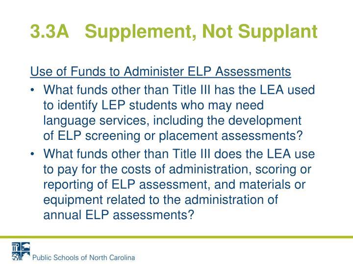 3.3A   Supplement, Not Supplant