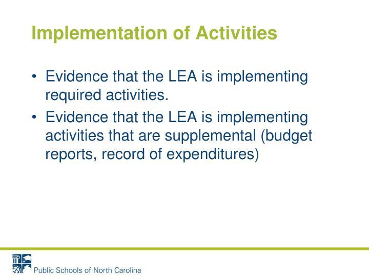 Implementation of Activities
