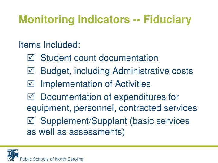 Monitoring Indicators -- Fiduciary