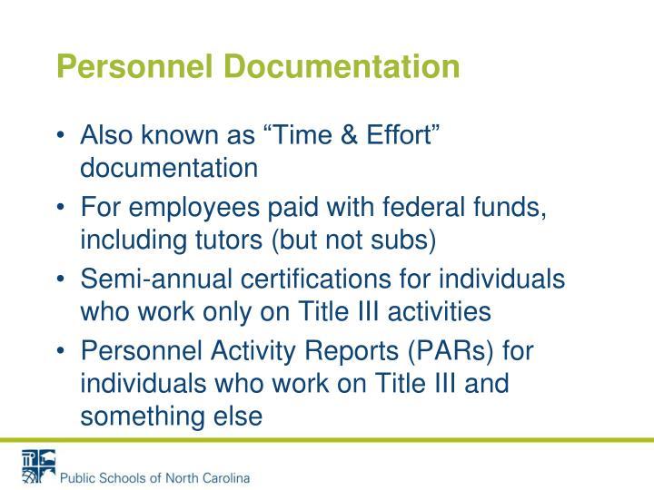 Personnel Documentation