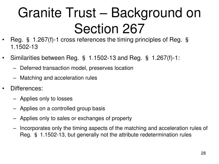 Granite Trust – Background on Section 267