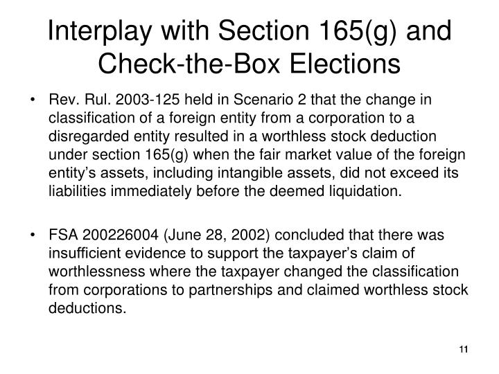 Interplay with Section 165(g) and Check-the-Box Elections