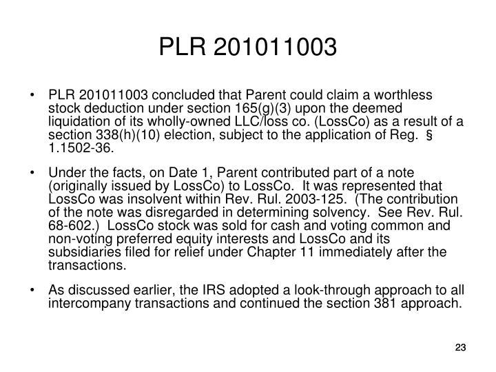 PLR 201011003