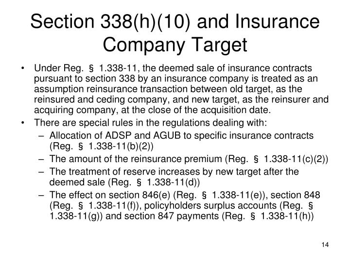 Section 338(h)(10) and Insurance Company Target