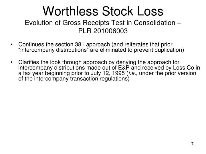 Worthless Stock Loss
