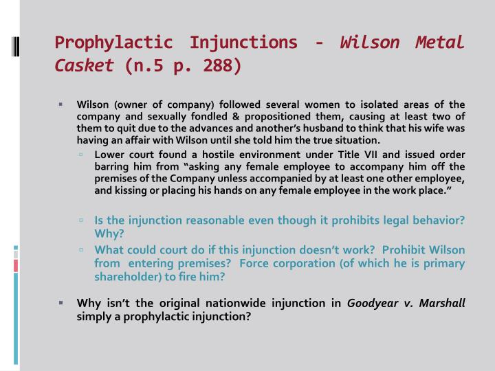 Prophylactic Injunctions -