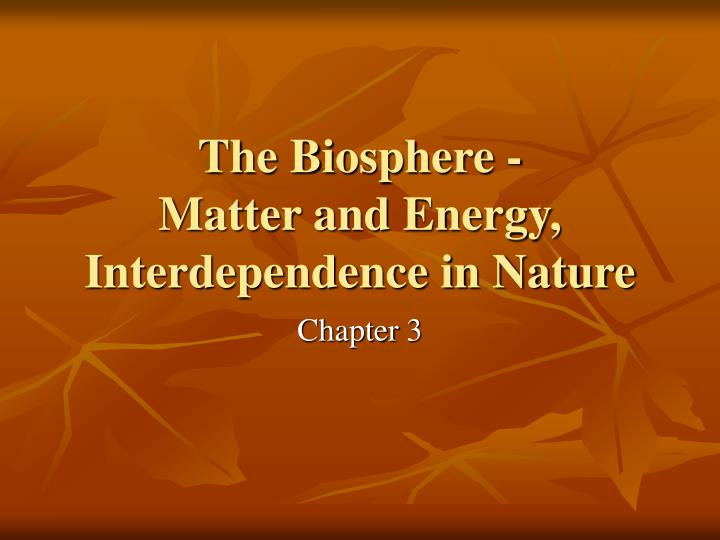 The biosphere matter and energy interdependence in nature