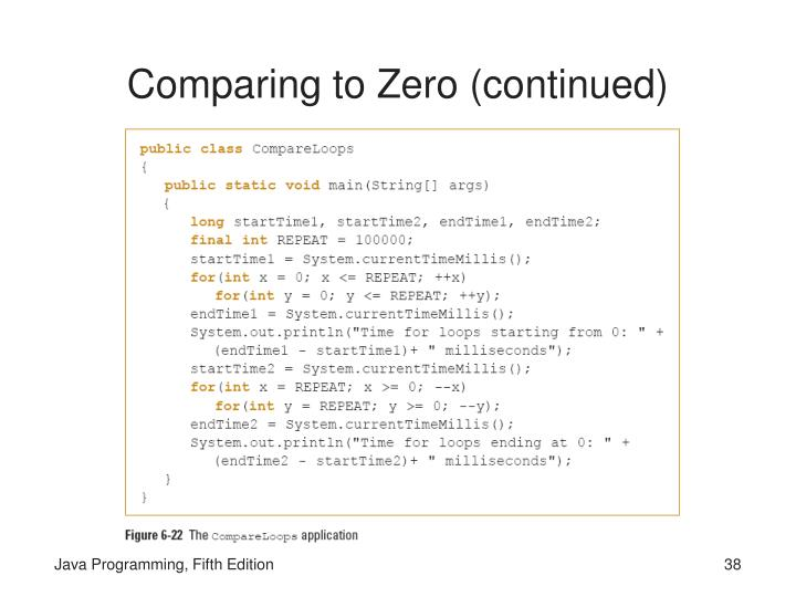 Comparing to Zero (continued)