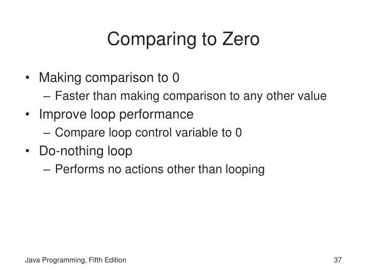 Comparing to Zero