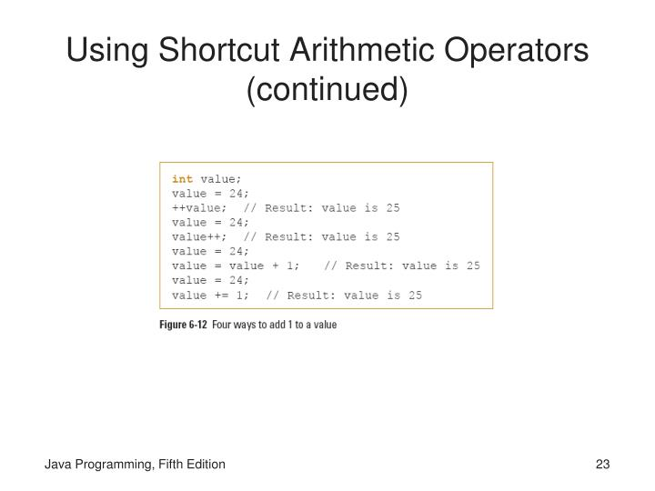 Using Shortcut Arithmetic Operators (continued)